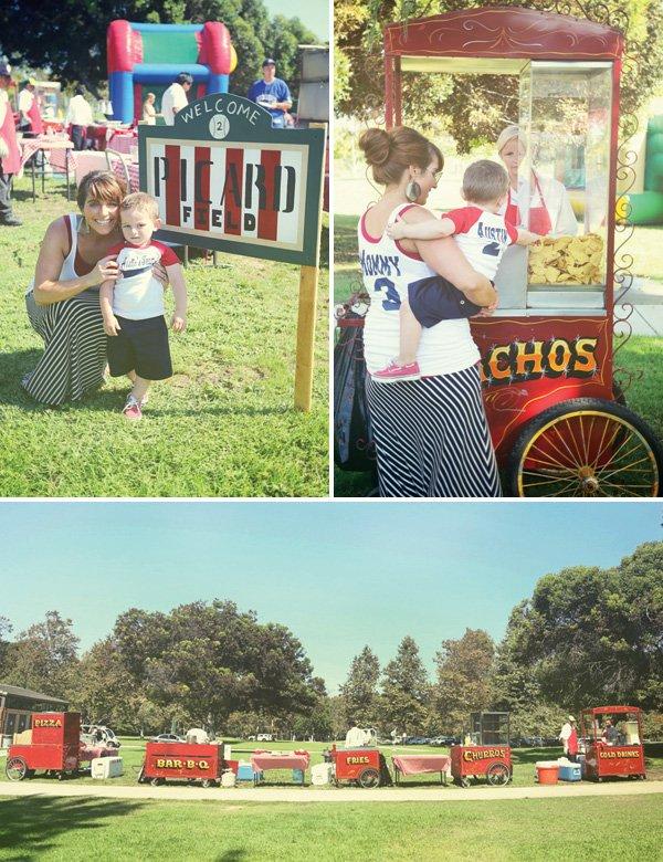 vintage baseball food carts with stadium food