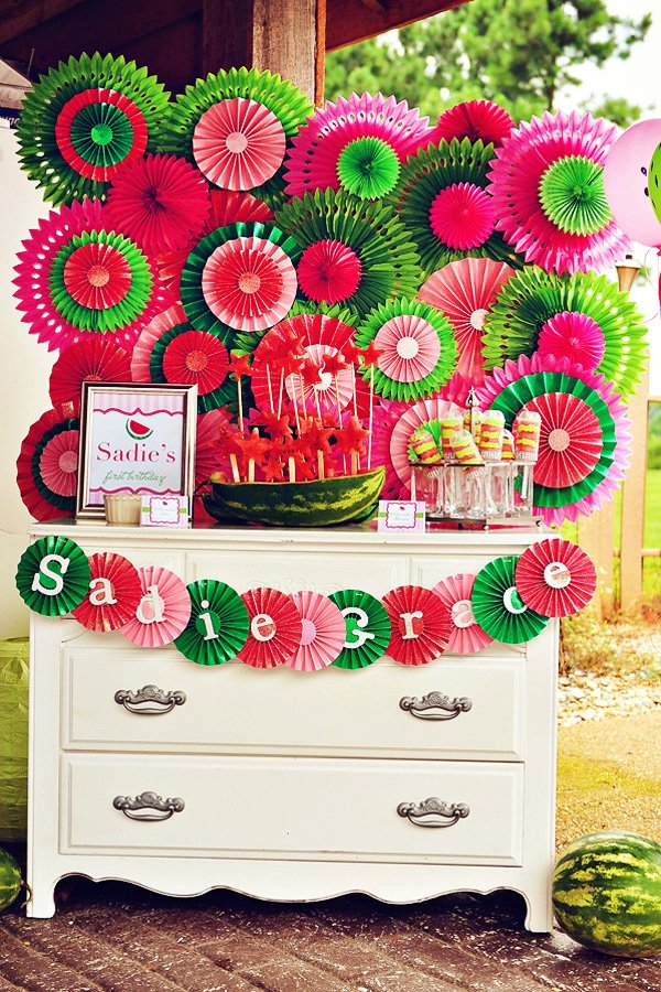 watermelon dessert table