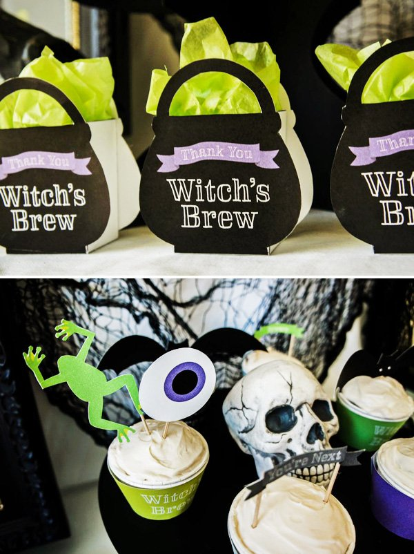 witches breew halloween party with cauldron favor bags