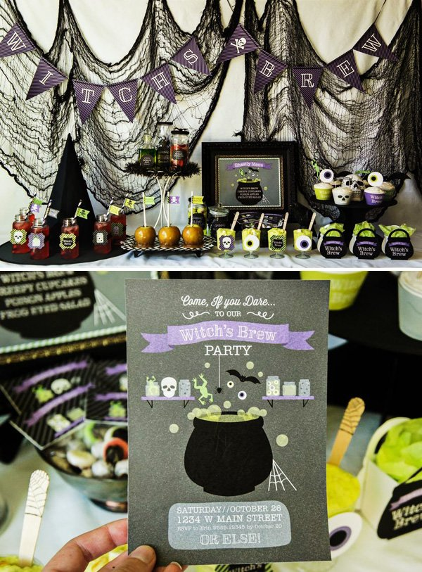 cauldron invitation for a witch inspired halloween party