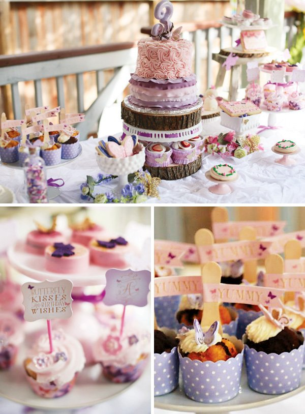 magical woodlang butterfly dessert table