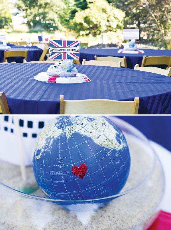 world globe and cruise ship centerepiece