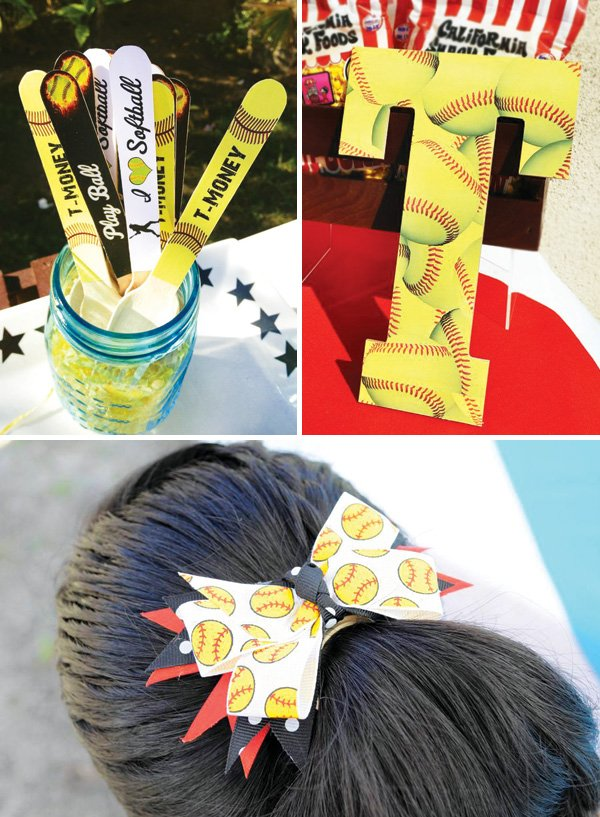 yellow softball decor and hair bow