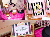 a favorite things birthday party featuring vintage barbie prints, pink, glitter, black and white stripes, and cotton candy