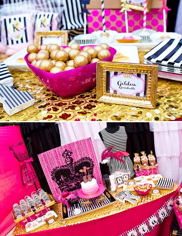 sparkly golden gumballs and dessert table for birthday party