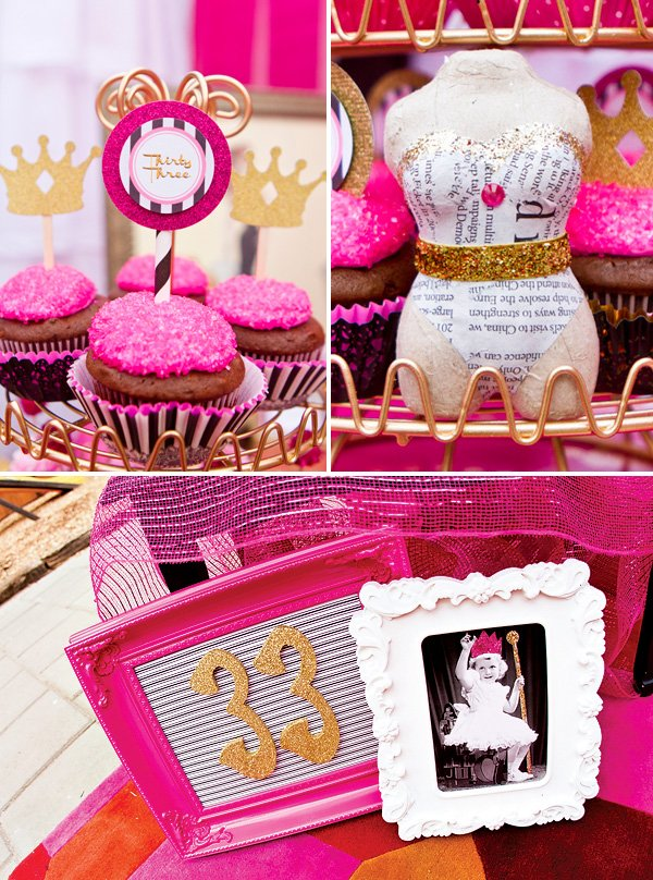 pink, gold and black birthday party with sparkly cupcakes, crown toppers, figure forms, and painted frames