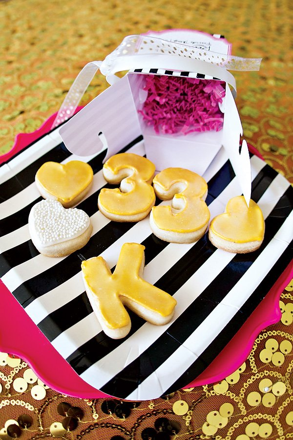 custom yellow or gold frosted sugar cookies for birthday party
