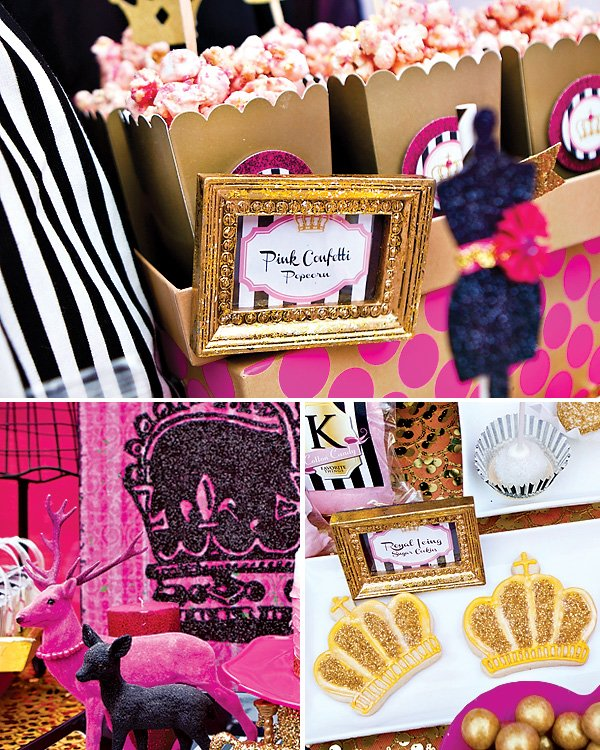 pink popcorn in gold boxes, black glitter crown, painted deer, and gold glitter royal icing crown sugar cookies
