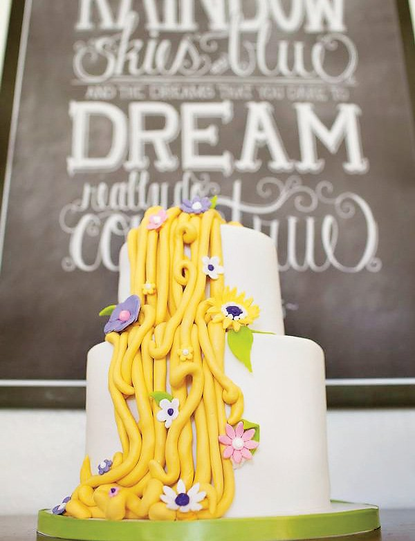 Tangled inspired rapunzel cake with cascading hair braids