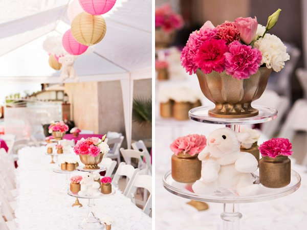 gold vase and pink carnation table centerpieces
