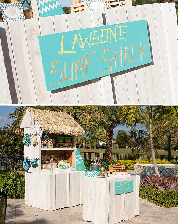 little surfer themed baby shower surf shack