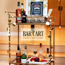 bar cart styling for a fall party cocktail
