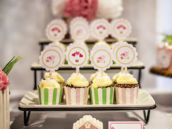 hummingbird cupcakes with scalloped lines and whistling bird cupcake toppers