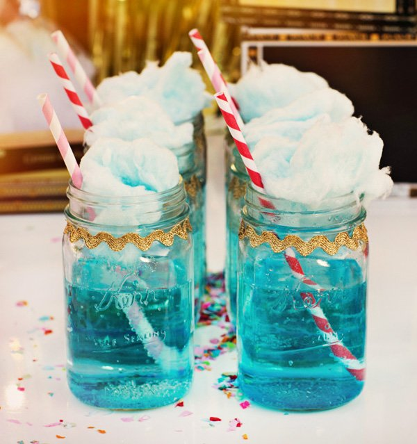 blue cotton candy and blue mason jars for a carnival party