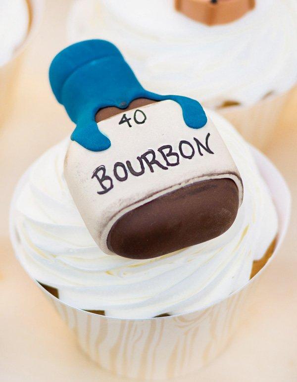 bourbon bottle topped cupcake