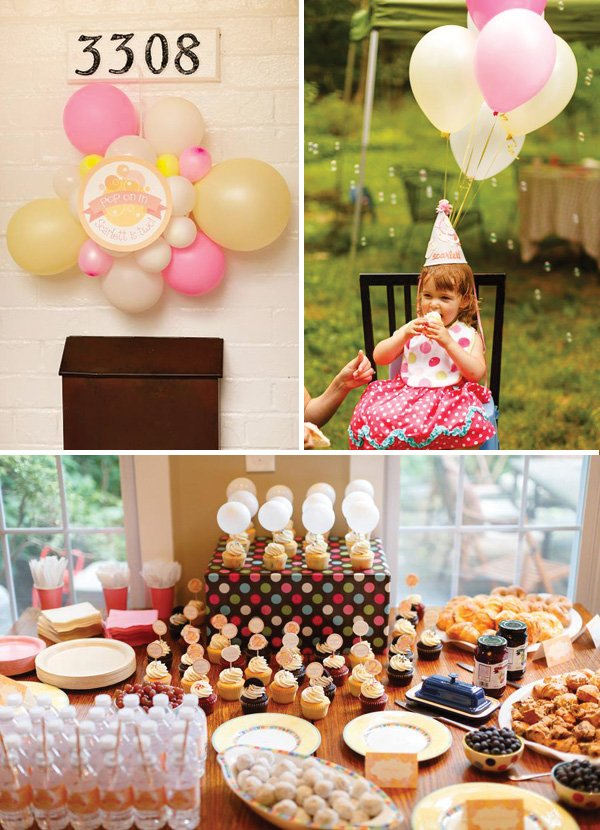 pink and yellow balloons and a dessert brunch table at a backyard bubble parrty
