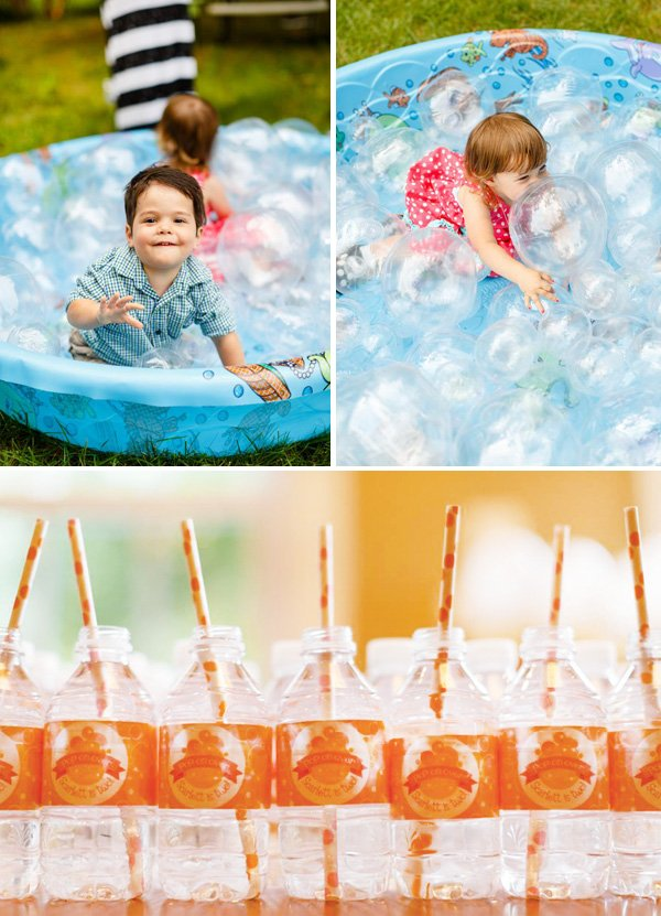 children playing in a bubble pit and customized water bottles with paper straws