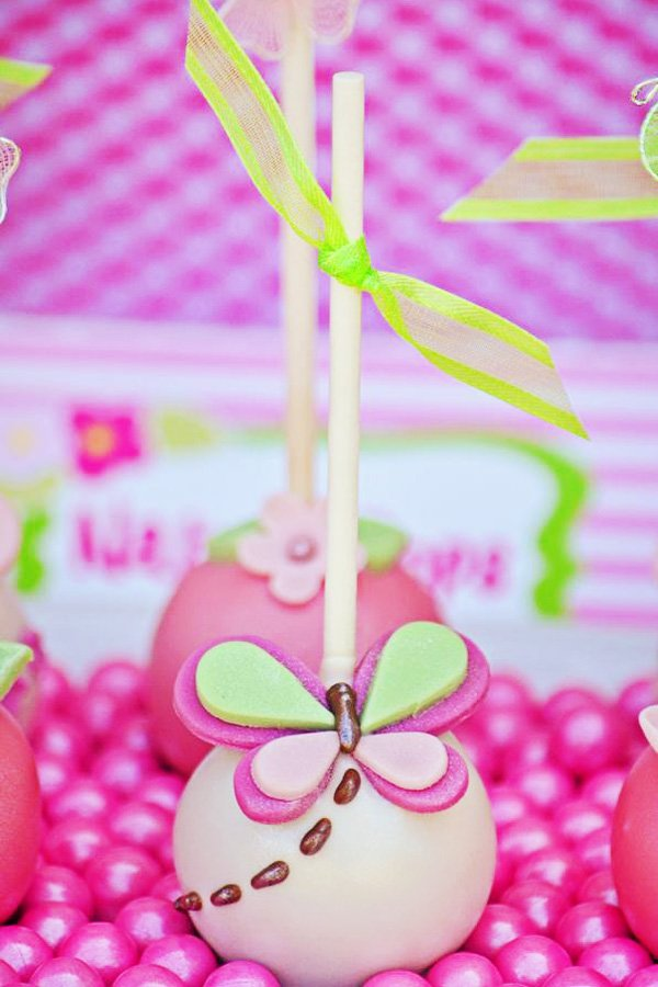 butterfly cake pop in pink and green