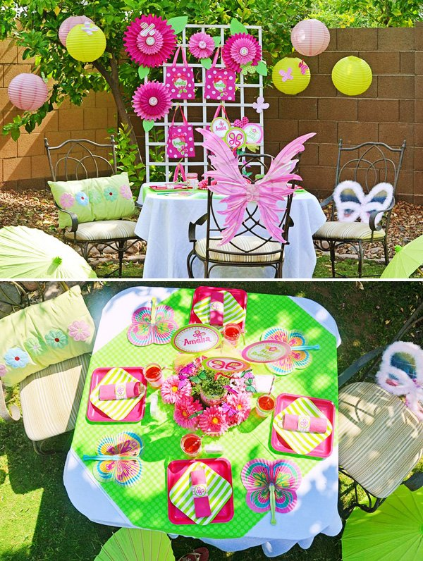 garden table with a butterfly theme