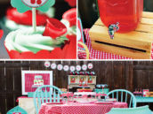 a cherry on top themed party with teal, red gingam, rose cupcakes and more