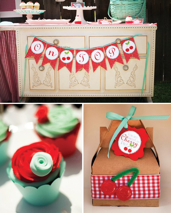 cherry on top garland, rose cupcakes with fondant rosettes and a boxed party favor