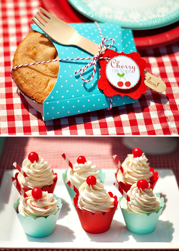 miniature cherry pies and cherry topped cupcakes with paper straws