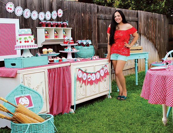 cherry on top themed party tablescape and dessert table with red gingham and teal