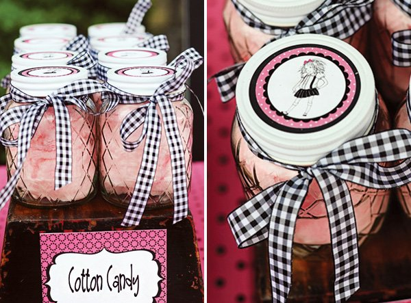 pink cotton candy in mason jars