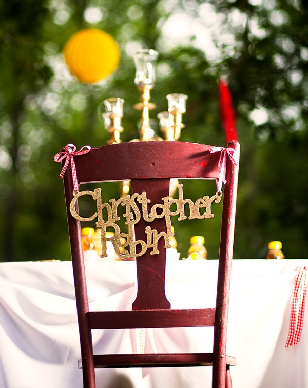 Custom Laser cut and hand painted Winnie the Pooh character names for party decor