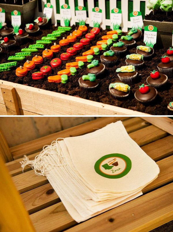 vegetable garden patch cupcakes and macarons