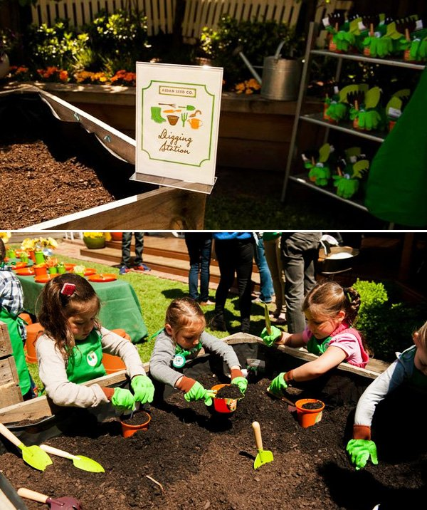 one kids activity was to dig in a gardening station and plant their own flowers