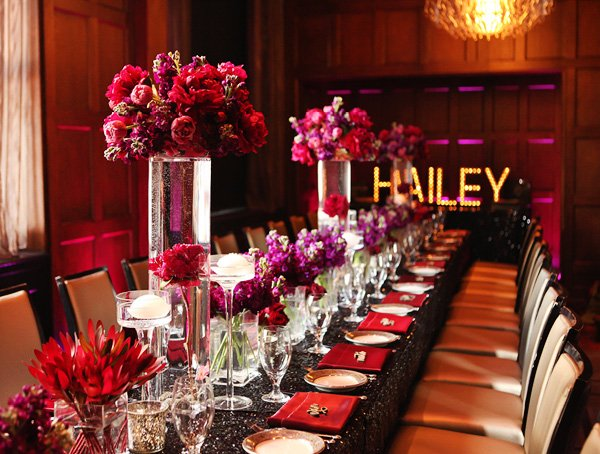 dramatic glamorous dinner party 30th birthday