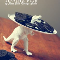 DIY homemade white dinosaur serving tray