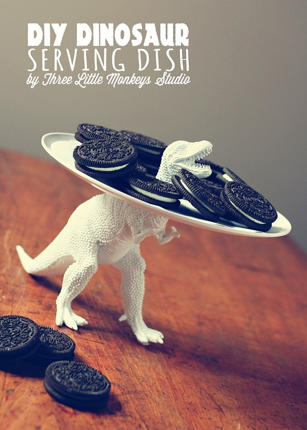 DIY homemade white dinosaur serving tray
