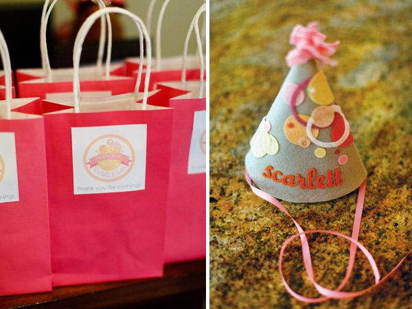 girl's birthday party felt hat and party favors