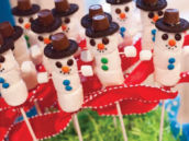 DIY marshmallow snowmen on sticks with hats made of oreos and rolos and m&m buttons and eyes