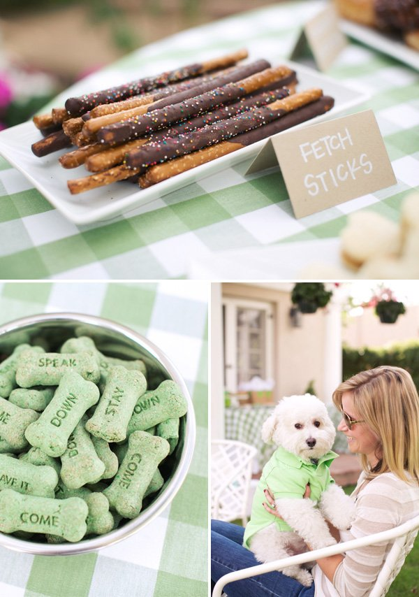 chocolate covered pretzel fetch sticks for a dog party