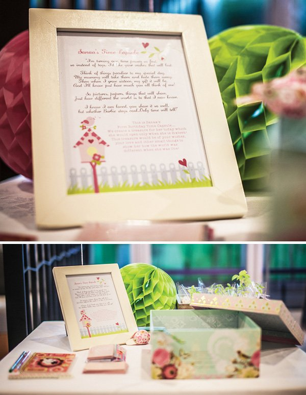 create a time capsule for a first birthday party with handwritten notes and a bird themed box