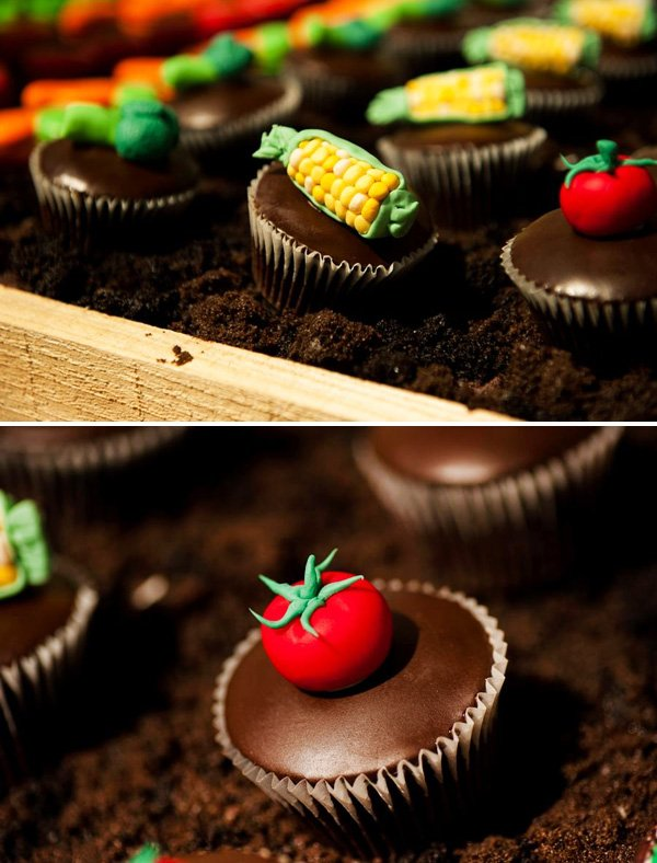 tomato, corn, vegetable chocolate cupcakes
