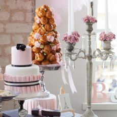 pink parisian dessert table