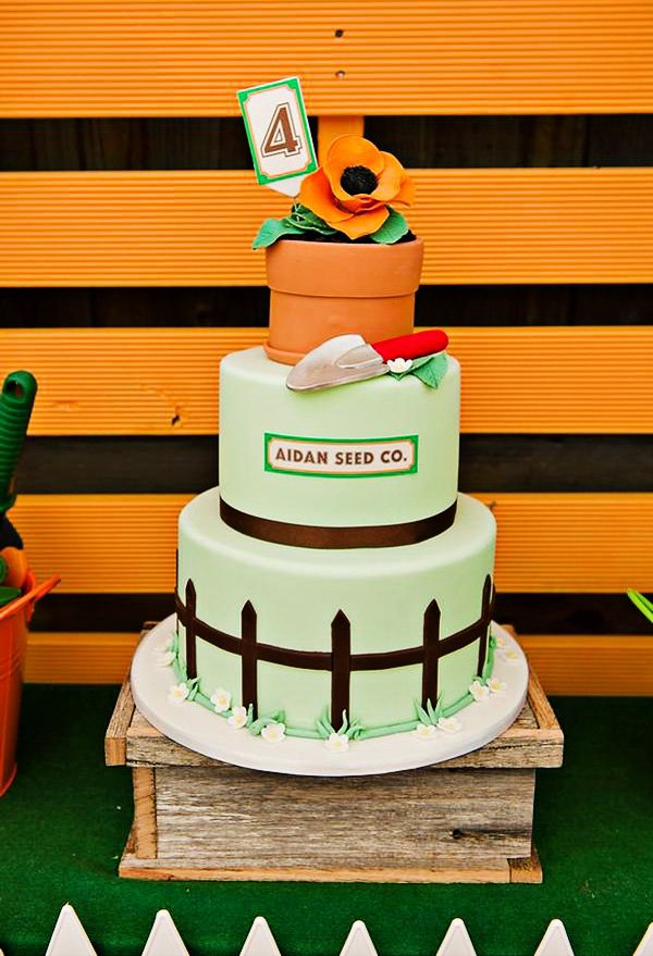 garden patch cake with flower and trowel