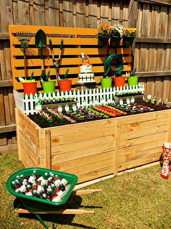 gardening themed birthday party with wooden crate