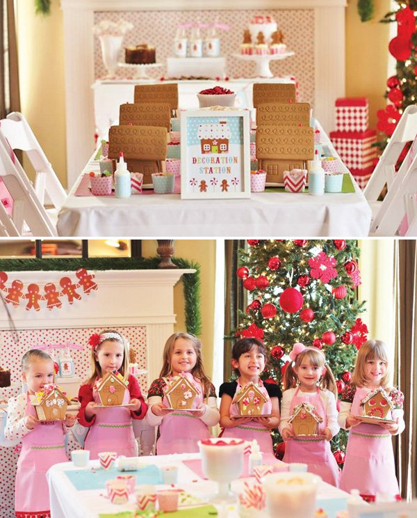 girls gingerbread house decorating party