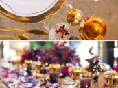 The finished DIY wine-splattered napkins paired with a modern glam gold tablescape