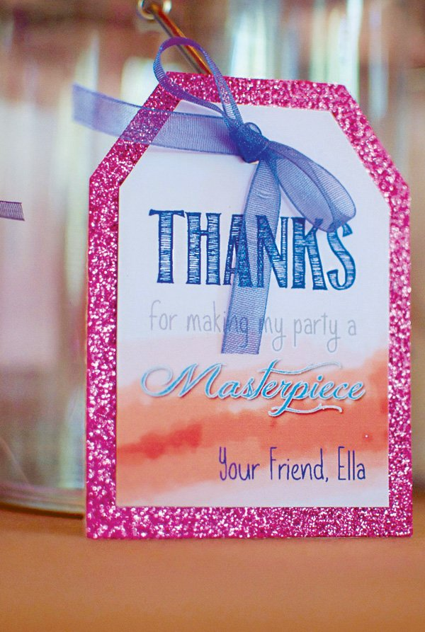 glitter watercolor thank you tags