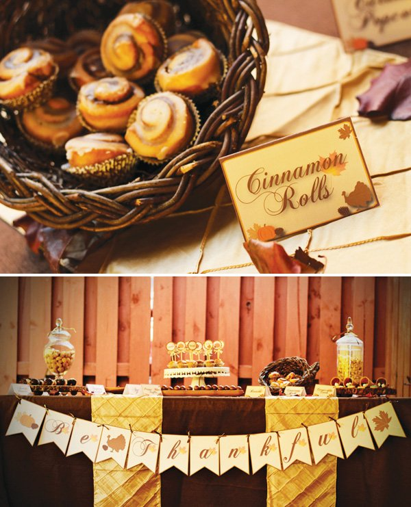 gold thanksgiving dessert table setup