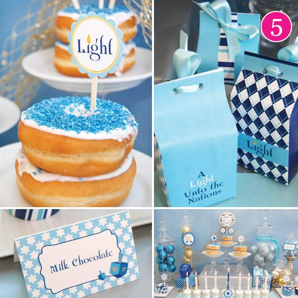 Hanukkah dessert table ideas and printables