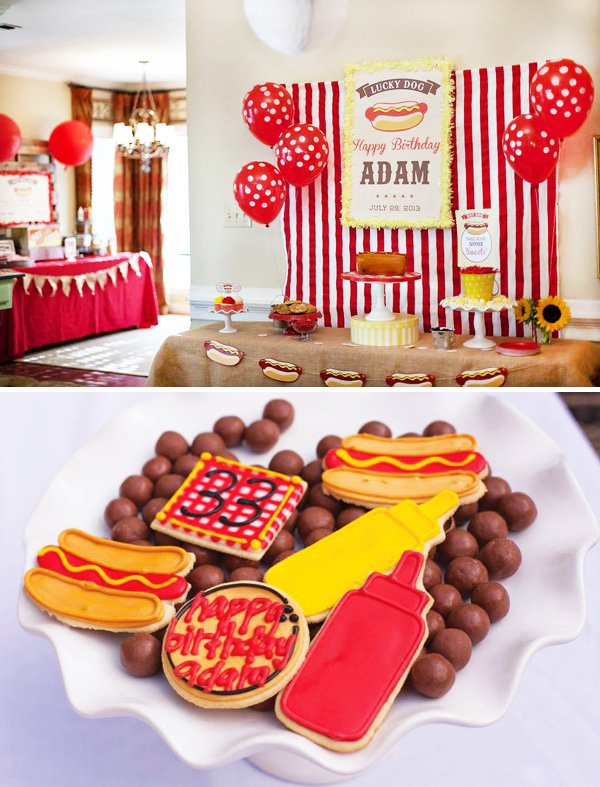 a hot dog adult birthday party with hot dog garland and condiment cookies