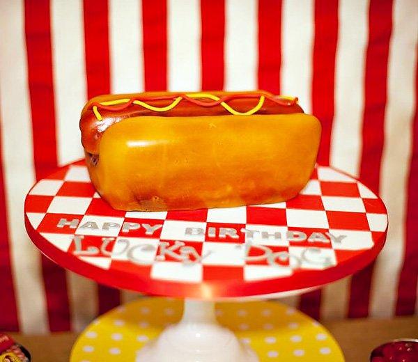 Hot dog birthday party cake