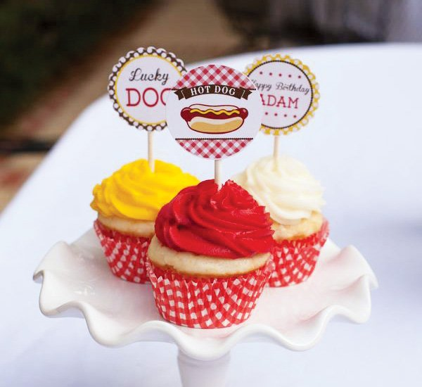 Hot dog party red, yellow and white cupcakes with Lucky Dog toppers